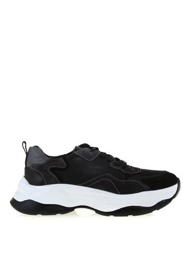 Fabrika Fabrika Yuvarlak Burun Bağcıklı Dikiş Desenli Sneaker Siyah